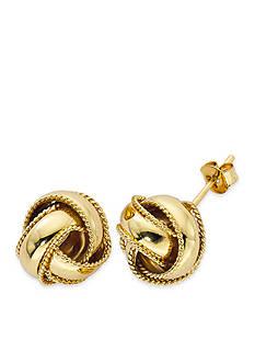Belk Silverworks Gold-Tone Pure 100 Rope Love Knot Stud Earrings