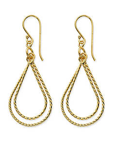 Belk Silverworks 24K Gold Pure 100 Twisted Double Teardrop Drop Earrings