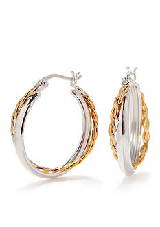 Belk Silverworks Pure 100 Two-Tone Double Hoop Earring