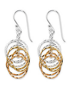 Belk Silverworks Tri-Tone Pure 100 Multi Twisted Ring Drop Earrings