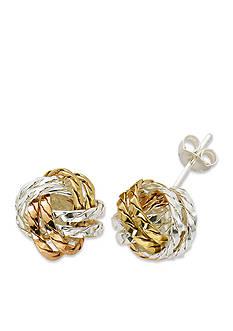 Belk Silverworks Tri-Tone Pure 100 Diamond Cut Love Knot Stud Earrings