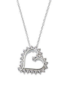 Belk Silverworks Pure 100 E Coat and Cubic Zirconia Heart Boxed Pendant