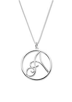 Belk Silverworks Initial Pendant with Letter A in Circle 18 Inches