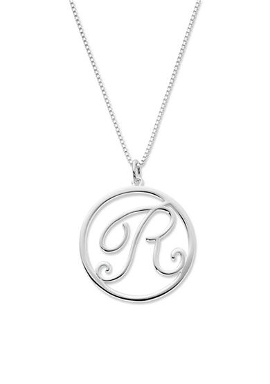 Belk Silverworks Silver-Tone Pure 100 Initial R Circle Pendant Necklace