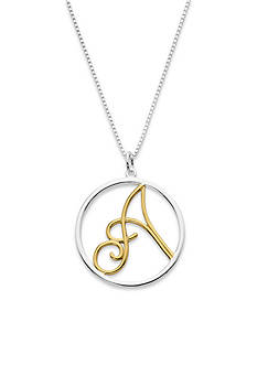 Belk Silverworks Two Tone Letter A in a Pure 100 Circle Pendant