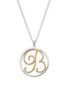 Belk Silverworks Two-Tone Pure 100 18-in. Initial B Circle Pendant