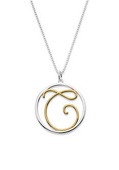 Belk Silverworks Two-Tone Pure 100 18-in. Initial C Circle Pendant