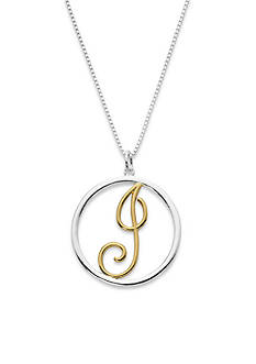 Belk Silverworks Two-Tone Pure 100 18-in. Initial J Circle Pendant