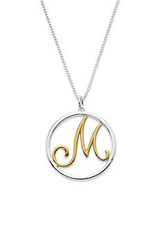 Belk Silverworks Two-Tone Pure 100 18-in. Initial M Circle Pendant