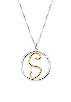 Belk Silverworks Two-Tone Pure 100 18-in. Initial S Circle Pendant
