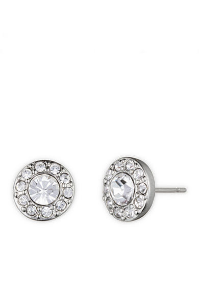 Givenchy Silver-Tone Pave Stud Earrings
