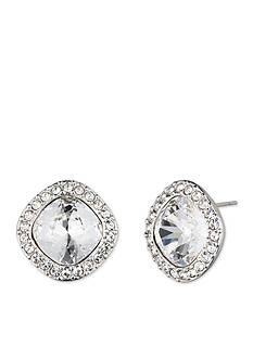 Givenchy Silver-Tone Pave Cushion Stud Earrings