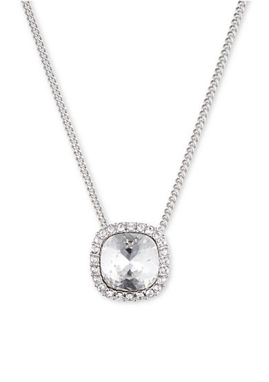 Givenchy Silver-Tone Crystal Cushion Pendant Necklace