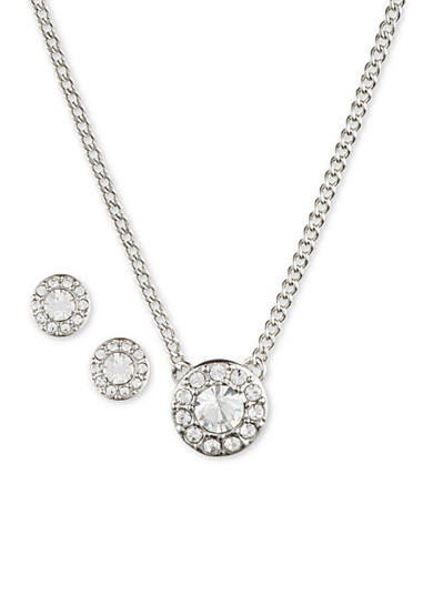 Givenchy Round Halo Crystal Necklace And Earrings Set