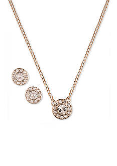 Givenchy Rose Gold-Tone Crystal Necklace and Earrings Set