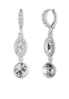 Givenchy Silver-Tone Crystal Double Drop Earring
