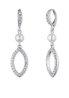 Givenchy Silver-Tone Pearl Crystal Drop Earrings