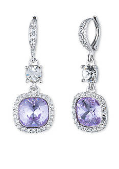 Givenchy Silver-Tone Violet Cushion Drop Earrings