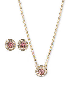 Givenchy Gold-Tone Rose Crystal Necklace And Earrings Set