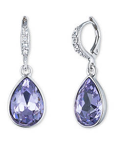 Givenchy Silver-Tone Violet Drop Earrings