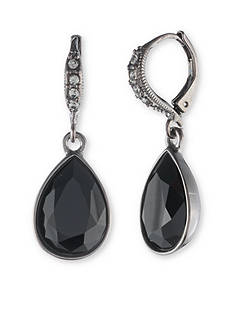 Givenchy Light Hematite Jet Pear Drop Earrings