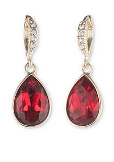 Givenchy Gold Tone Red Pear Drop Earrings