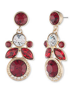 Givenchy Gold Tone Red Drop Earrings
