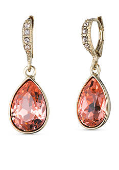 Givenchy Gold Tone Stone Pear Drop Earrings