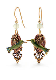 Silver Forest® Green Hummingbird Earrings