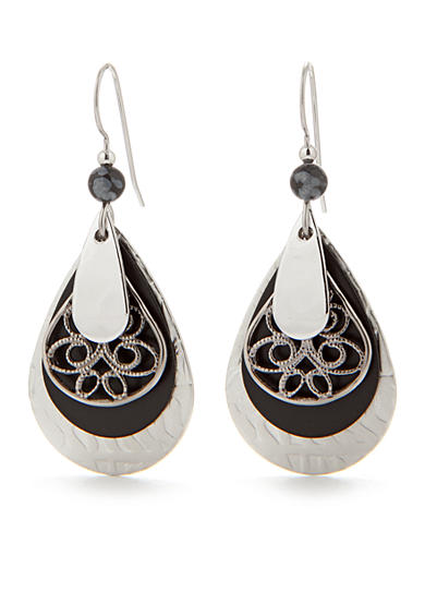 Silver Forest® Layered Silver-Tone Metal and Black Filigree Drop Earring