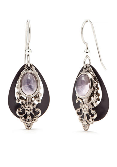Silver Forest® Silver-Tone Amethyst Stone Layered Drop Earrings