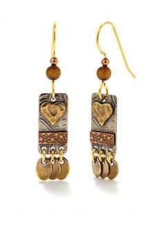 Silver Forest® Mixed Metal Artisan Heart Drop Earrings