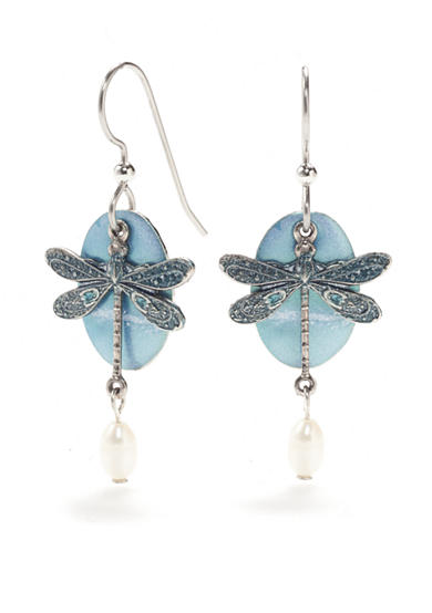 Silver Forest® Silver-tone Dragonfly Drop Earrings