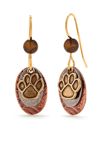 Silver Forest® Mixed Metal Paw Drop Earrings
