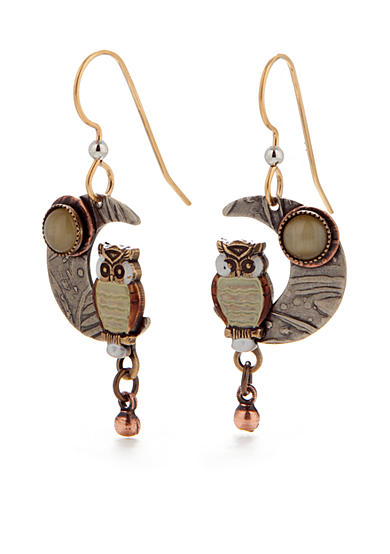 Silver Forest® Owl On Crescent Moon Drop Earrings