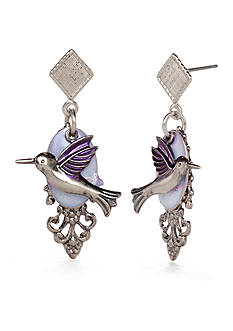Silver Forest® Silver-Tone and Purple Hummingbird Drop Earrings