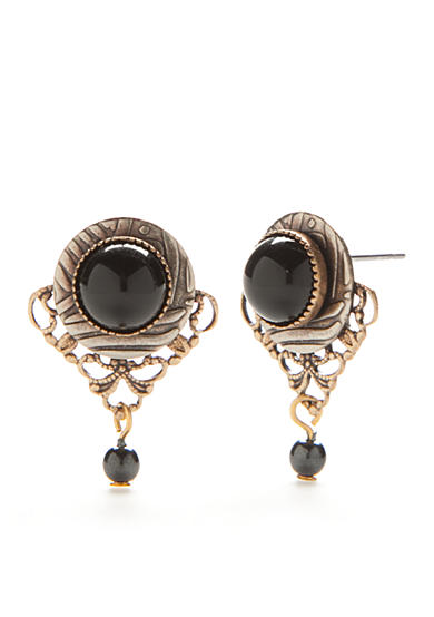 Silver Forest® Gold-Tone Onyx Filigree Button Earrings