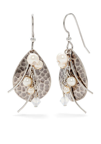 Silver Forest® Hammered Metal Drop Earrings