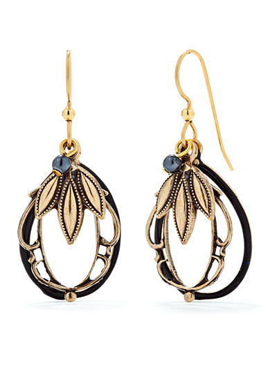 Silver Forest® Gold-Tone Layered Leaf Drop Earrings