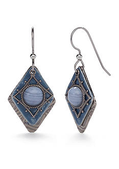 Silver Forest® Silver-Tone Skyscapes Blue Agate Drop Earrings