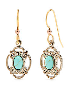 Silver Forest Gold-Tone Turquoise Oval on Filigree Drop Earrings