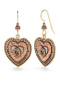 Silver Forest Two-Tone Artisan Alley Heart Drop Earrings