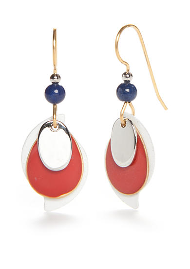 Silver Forest® Silver-Tone American Pride Red, White and Blue Teardrop Earrings