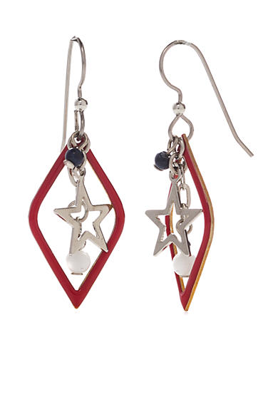 Silver Forest® Silver-Tone American Pride Red, White and Blue Star Drop Earrings