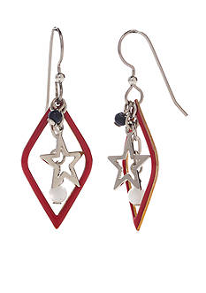 Silver Forest Silver-Tone American Pride Star Drop Earrings