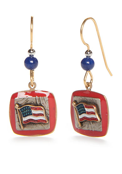 Silver Forest® Gold-Tone American Pride Red, White and Blue Square Flag Drop Earrings
