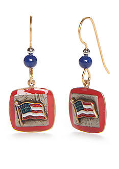 Silver Forest Gold-Tone American Pride Flag Drop Earrings