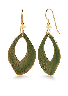 Silver Forest Gold-Tone Enchanted Garden Green Leaf Drop Earrings