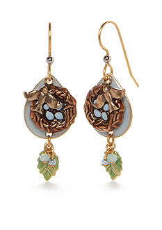 Silver Forest Gold-Tone Enchanted Garden Bird Nest Drop Earrings