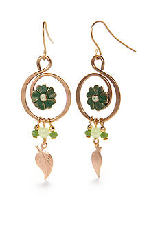 Silver Forest Gold-Tone Lucky Clover Drop Earrings